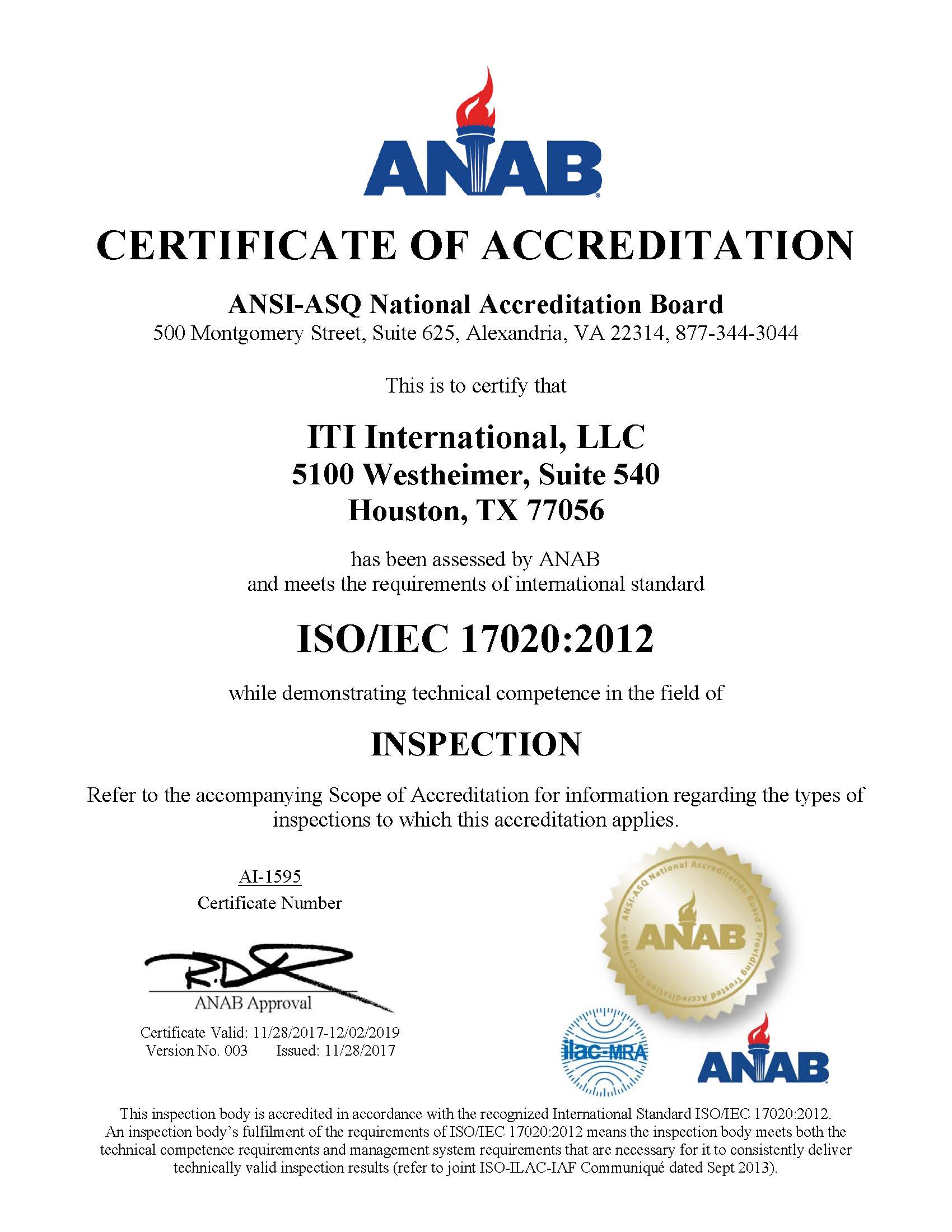 ISO/IEC 17020:2012 Accreditation – ITI International